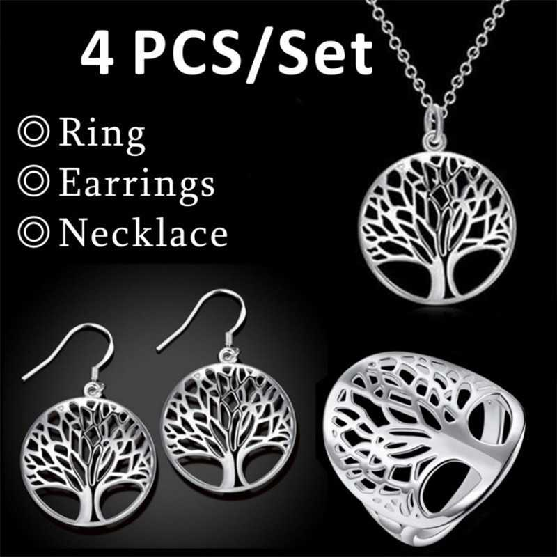 2018 Wishing Tree Pendant Tree of Life Necklace 925 Jewelry Silver Necklace and Pendant Tree of Life Christmas Gifts Sets 4Pc