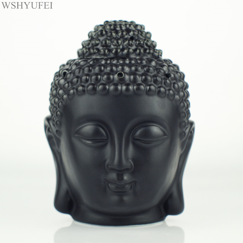 WSHYUFEI Ceramic Aromatherapy Oil Burner Buddha Head Aroma Essential Oil Diffuser Indian Incense Buddha Tibetan Incense Burner image