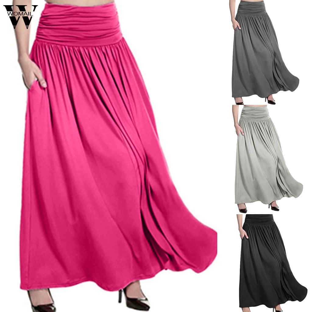 Womail Skirt Women Summer  2020 New Fashion High Waist Solid Maxi Skirt Casual Swing Gypsy Long Skirt Plus Size 2019  M27