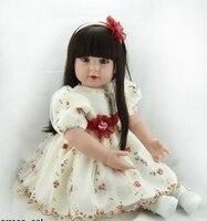 60 см мягкой тканью тела силикона Reborn Baby Doll игрушки 24 дюймовый винил для маленьких девочек принцесс жив Bebe девушка Bonecas подарок на день рожден