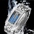 Luxury Brand Watches Women Stainless Steel Watch Blue Binary Luminous Date Digital LED Clock Bracelet Sport Watches Reloj Mujer