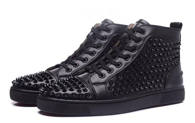 bottom Shoes Men Black Spikes Shoes