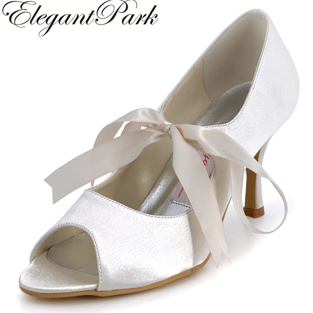 e53ed4899f US $52.99 |Aliexpress.com : Buy Woman Fashion Prom Dress Pumps EP11031  White Ivory Peep Toe Mary Janes High Heel Satin Women's Bridal Wedding  Shoes ...