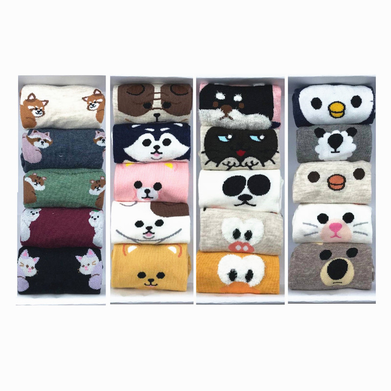 MYORED 5 pairs/lot woman   socks   set women cotton invisible   socks   female   socks   cartoon animal pattern lady   socks   slippers NO BOX