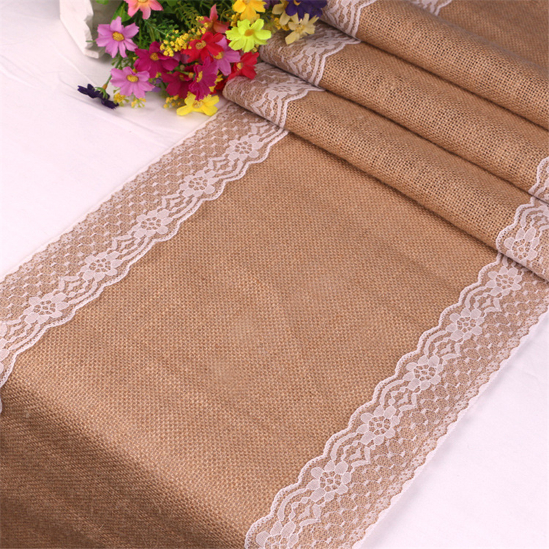 Vintage White Christmas Lace Hessian Burlap Country Event Party Supplies Wedding Decoration Linen Table Cloth Jute Table Runner(China)