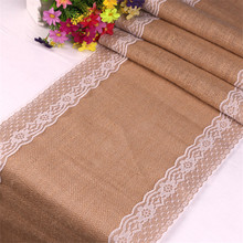 275cm Vintage White Christmas Lace Jute Linen Hessian Burlap Country Event Party Supplies Wedding Decoration Table Cloth Runner(China)