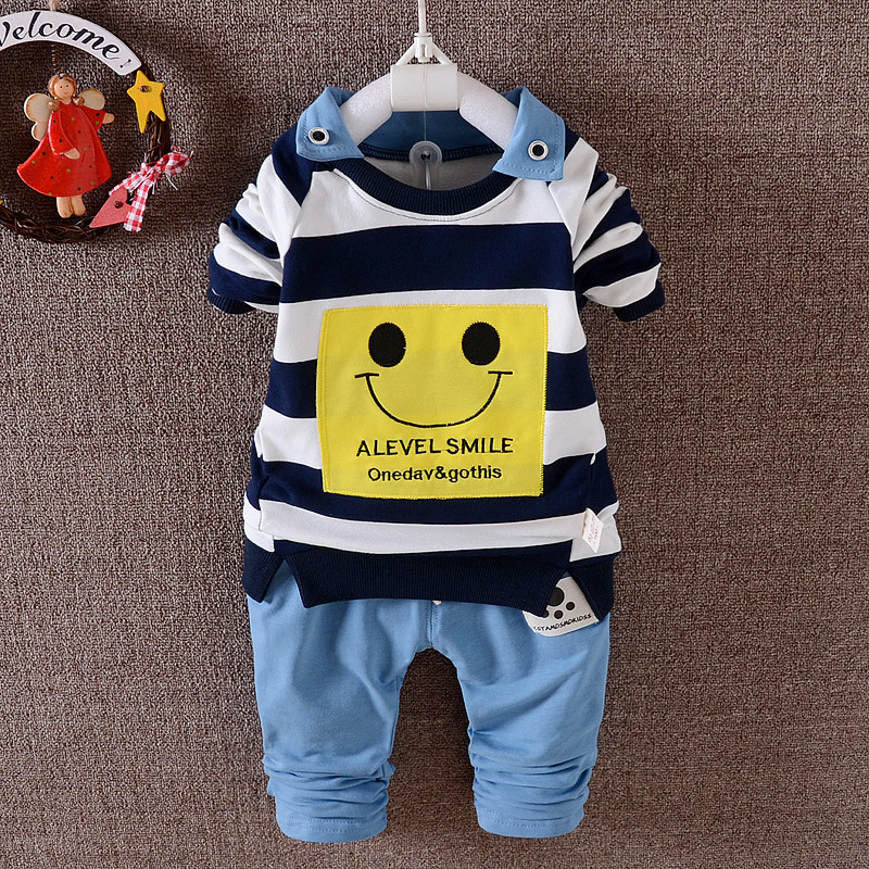 Spring Autumn Baby boys clothing set cotton striped kids clothes long sleeve shirt+pant 2 pcs/set boy suit children clothing high quality branded boys t shirts children clothing baby t shirt kids clothes long sleeve striped cotton baby boy t shirt
