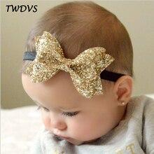 TWDVS Newborn Shiny Bow Knot Hair band Elastic Bow Headband Kids Hair Accessories Ring hair accessories W213