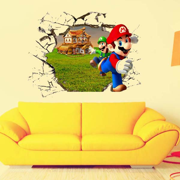 Super Mario Bros Cartoon 3D Wall stickers for kids rooms decoration ...