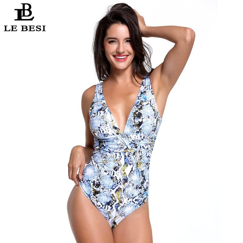 LEBESI 2018 Sexy Deep V Womens One Piece Swimsuit Print Snake Bodysuit Push Up Bathingsuit Plus Size Swimwear Backless Monokini