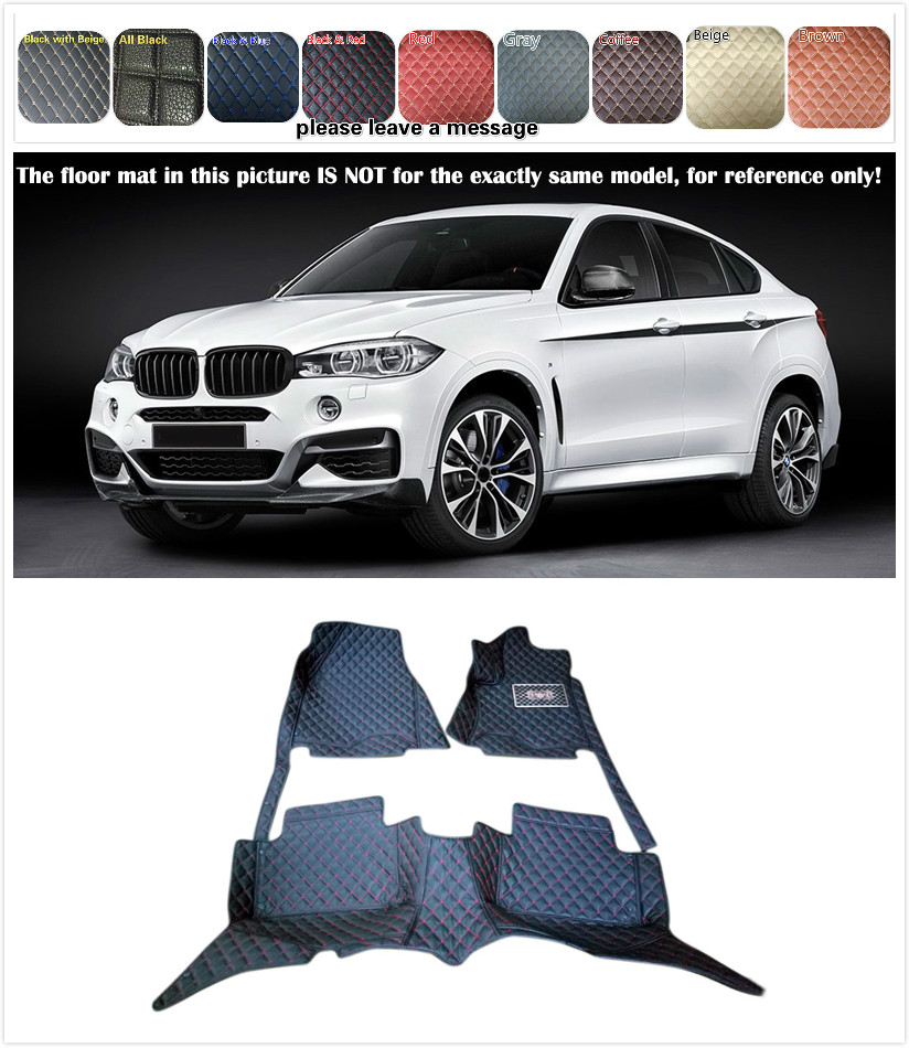 5 seats Custom Car Floor Mat Waterproof Front & Rear Floor Mats for BMW X6 E71 2008 - 2014 / X6 F16 2015 2016 Car styling carbon fiber car rear bumper extension lip spoiler diffuser for bmw x6 e71 e72 2008 2014 xdrive 35i 50i black frp