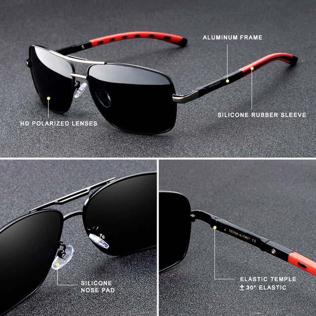 KINGSEVEN Men's Polarized Square Sunglasses, Aluminum Frame, HD UV400, Perfect for Driving