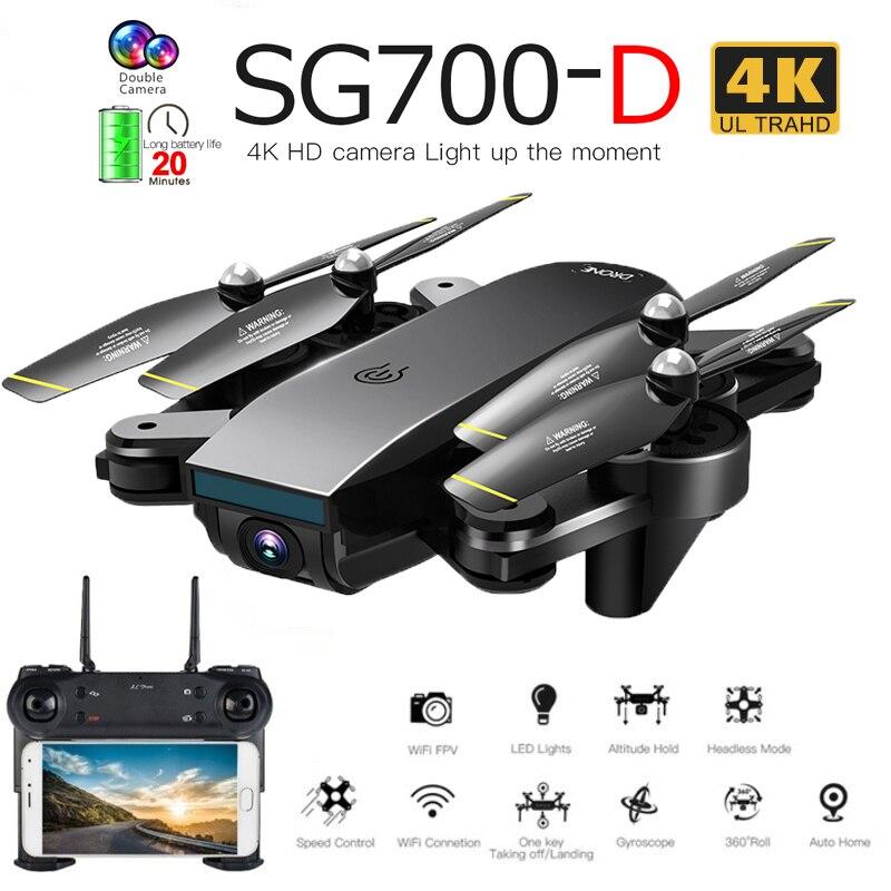 Drone pliable professionnel de SG700-D avec double caméra 1080P 720P 4K Selfie WiFi FPV flux optique RC quadrirotor hélicoptère XS809S