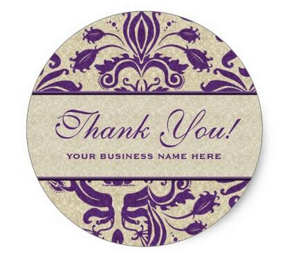 1 5inch business thank you customized stickers purple