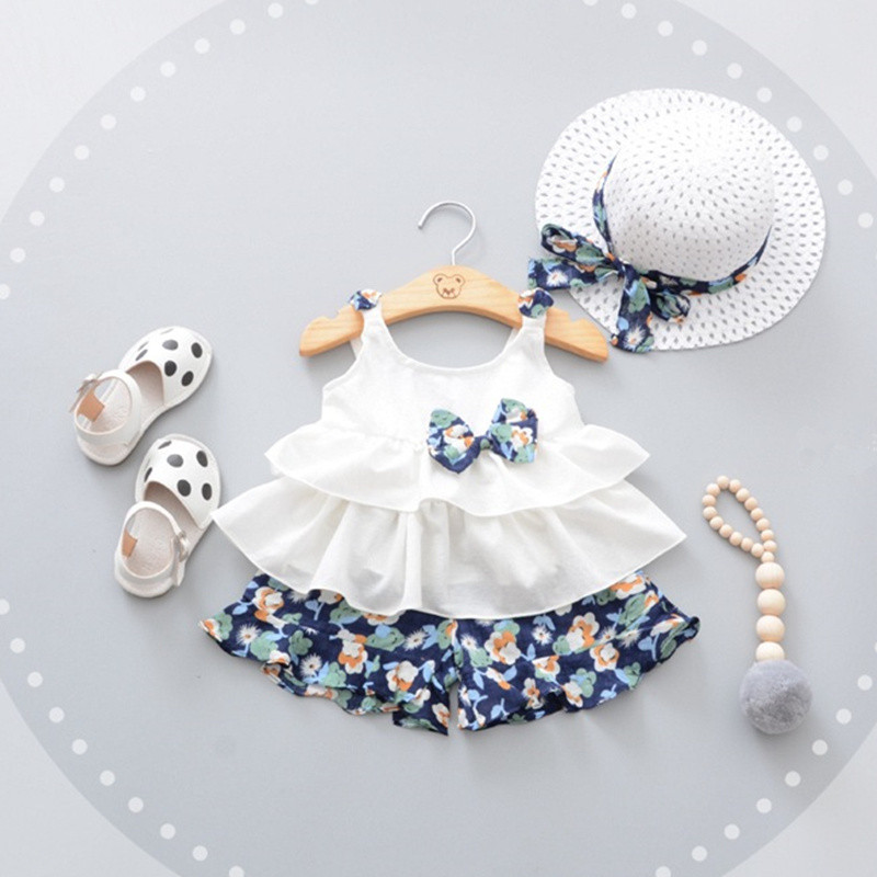 Summer Baby Girl Sets 3pcs Cute Bow Newborn Baby Clothes For Girls Beach Style Top+Flower Pant+Hat Infant Girls Clothes Kid Set