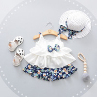 Summer Baby Girl Sets 3pcs Cute Bow Newborn Baby Clothes For Girls Beach Style Top