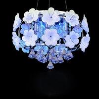 Led e14 Nórdico flor de Cristal de Aço Inoxidável Lâmpada LED. CONDUZIU a Luz. Luzes de Teto Teto Light. LED. Lâmpada do teto Para O Quarto Foyer