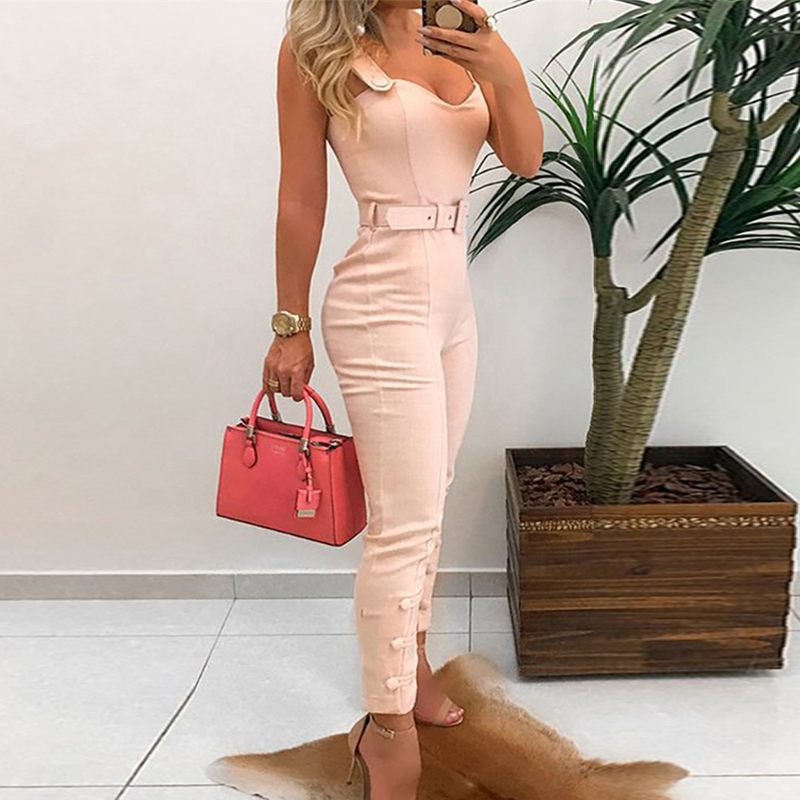 Women Elegant Button Leg Belted Jumpsuit Office Lady Leisure Overalls Slim Fit V-Neck Spaghetti Strap Summer Rompers