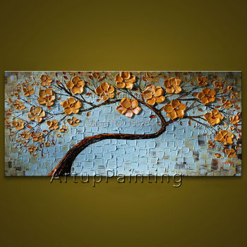 Flower hand-painted wall painting palette knife wild flower abstract oil painting canvas modern room decorates living room 03