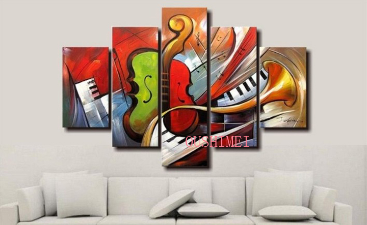 Hot sale 100 hand painted discount abstract music for Cheap canvas paintings for sale