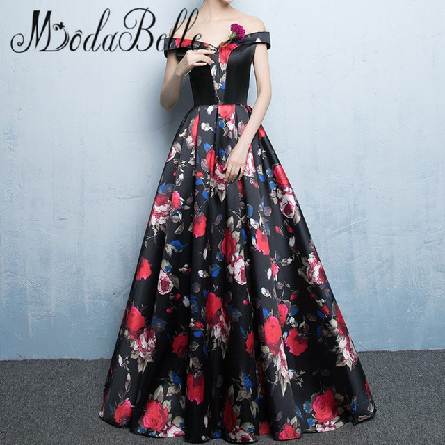 ee82895b53b modabelle Off Shoulder Satin Floral Print Prom Dresses Black Red Flowers  Evening Gowns 2017 Formal Dress Women Avondjurk