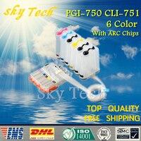 Pgi750 cli751  PGI-750 CLI-751 ciss 용 6 색 빈 ciss 슈트  arc 칩이있는 canon mg6370 mg7170 ip8770 등