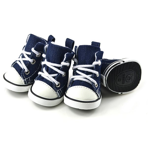 4 PCS Puppy Pet Dogs Denim Shoes Sport Boots Anti-slip Bootie Walk Causal Sneaker Large