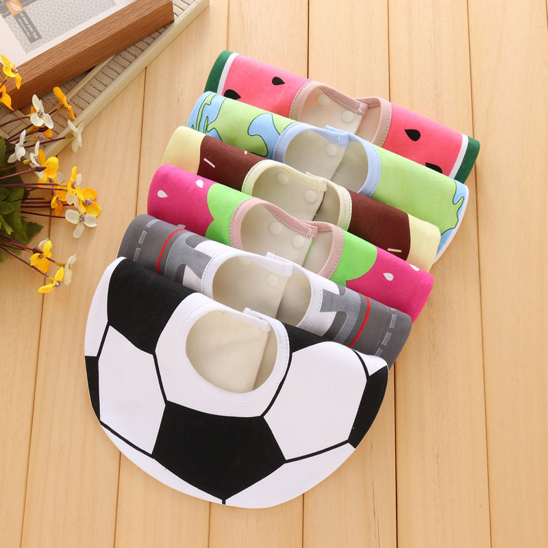 Infant baby girls and boys bibs burp cloth print fruit circle 360 degree baby waterproof bibs pure cotton bandana accessories finger print bandana