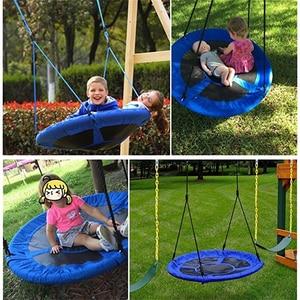 Image 2 - ילדי נדנדה חיצוני תינוק צעצוע עגול תלוי כיסא עץ נדנדה גן ריהוט לשחק חצר נדנדה קוטר 80CM ילד ריהוט