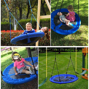 Image 2 - Columpio de juguete para niños, silla colgante redondo, Columpio de árbol, muebles de jardín, patio de juego, Columpio de 80CM de diámetro