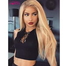 DOROSY HAIR High Temperature Fiber Perruque 613 Full Long Natural Straight Hair Wigs Blonde Synthetic Lace Front Wig For Women