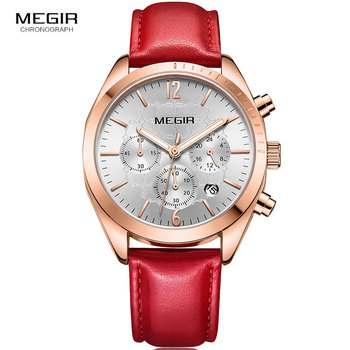 Megir Women's Luxury Quartz Watches Leather Strap Chronograph Wristwatch for Woman Lady Relogios Femininos Relojes 2115 Red
