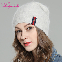 LILIYABAIHE Women Autumn And Winter Hat angora Knitted Skullies Beanies Cap Sexy beard diamond decoration hats for Girls