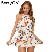 BerryGo Off Shoulder Halter Women Jumpsuit Romper Sexy Ruffle Linning Floral Elegant Playsuit Summer Beach Sleeveless