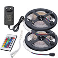 RGB LED Strip Lights 5m 10m 60leds/m Non Waterproof Tape SMD 2835 Flexible Ribbon+IR Remote Controller+12V 2A 3A Power Supply