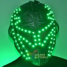 Из светодиодов маски хэллоуина маски красочные цвет яркий свет шлем огонь фестиваль из светодиодов светящийся ну вечеринку DJ для роботов
