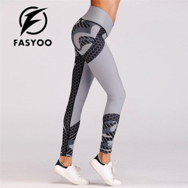 4ad91debdd0bb New Print Sexy Women Yoga Pants Slim High Waist Sports Leggings grey Gym  Fitness Elastic Trousers drop shipping