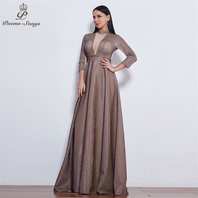 Poems Songs 2019 New style reflective dress beautiful colorful Long sleeve Evening Dress prom gowns  Formal Party dress 2