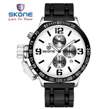 SKONE 2017 Stopwatch 6 Hands 24 Hours Function Chronograph Sport Watches Men Military Casual Watch Steel Band relogio masculino