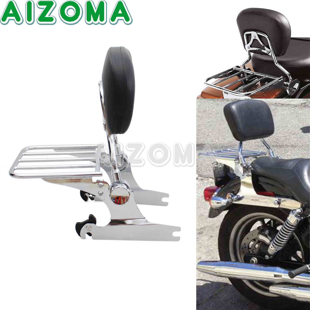 Detachable Adjustable Sissy Bar Backrest Passenger Luggage Rack Fit 200mm Rear Tire Fender For Harley Springer Softail FXSTC/S/B цены