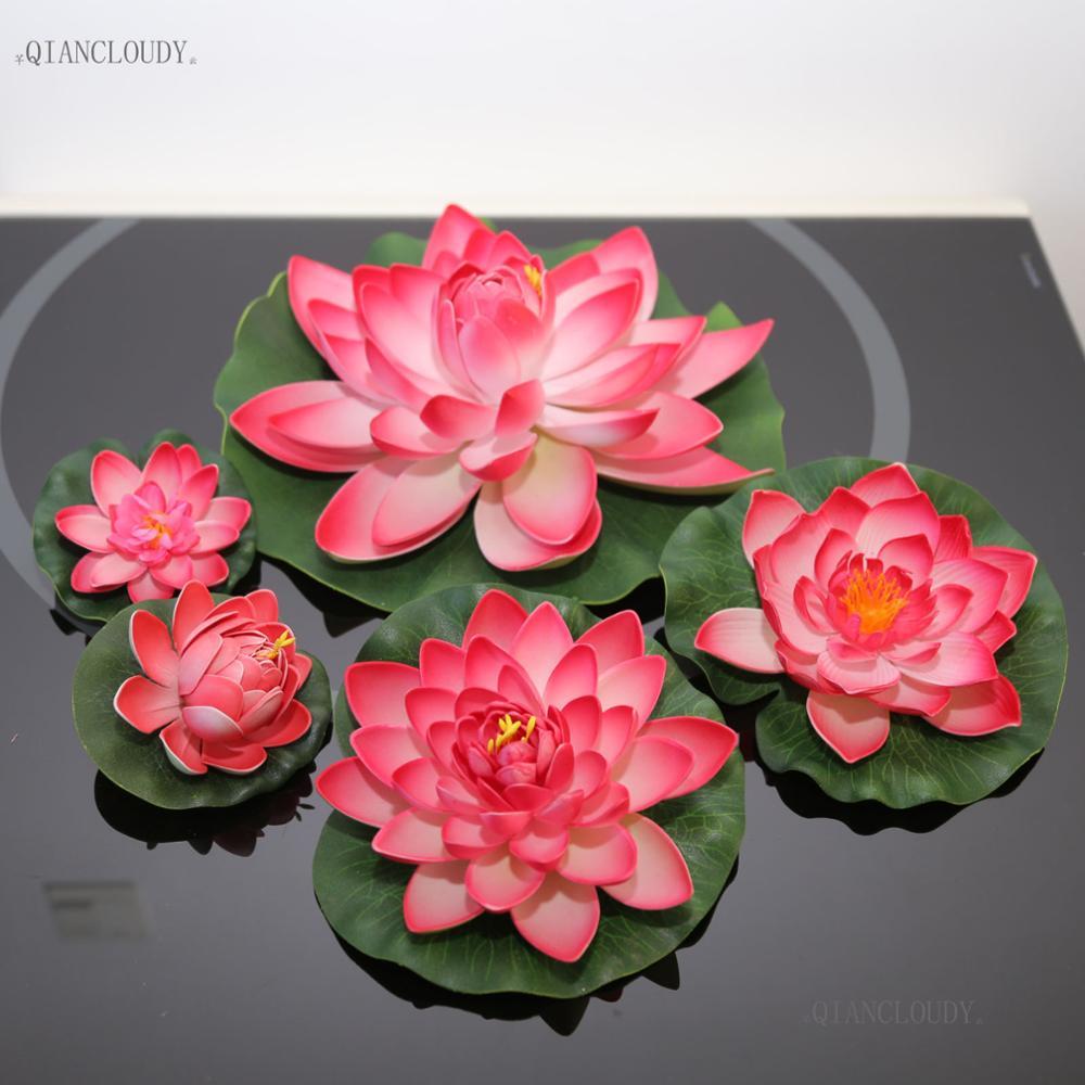 Artificial DARK pink Lotus Leaf Ponds flowers Water Lily Floating ...