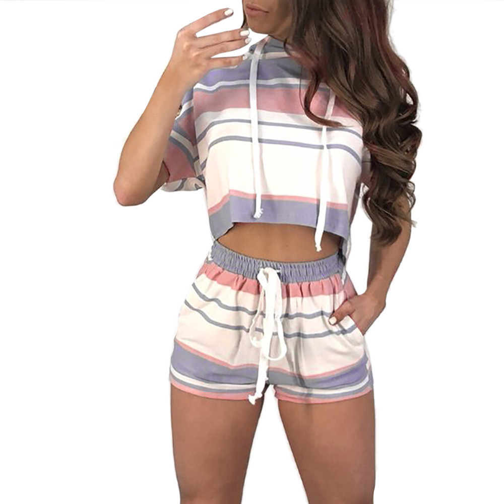 Trendzone 5/25 Women Short Sleeve Striped Crop Tops Blouse+Cord Shorts Outfit Set Sports Suit Free Shipping