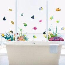 Underwater Ocean Fish Plant Nursery Room Wall Stickers Home Decor Mural Art Poster Kids Decal Bathroom Cartoon DIY World