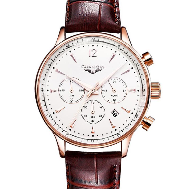 Prix pour Hommes sport montre top marque guanqin de luxe en cuir montre à quartz hommes de mode casual grand cadran date montre-bracelet montre hommes