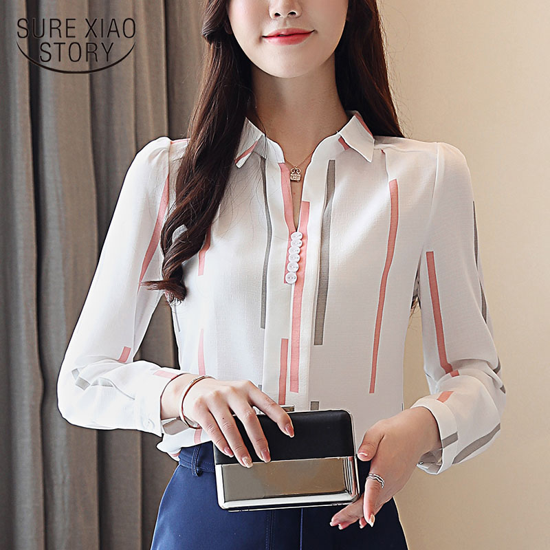 2018 New Autumn  Women Shirts Striped Chiffon  Long Sleeved Woman Top   V- Neck OL STYLE Western Style Slim Fit Blusa 0973 30