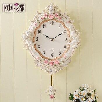 Reloj de pared de salón de estilo europeo, reloj de cuarzo redondo minimalista moderno para dormitorio coreano y jardín de flores