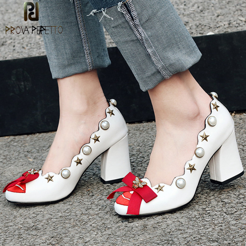 Prova Perfetto New High Heels Women Shoes Red Lip Bowknot Bee Crystal Pearl Zapatos Mujer Real