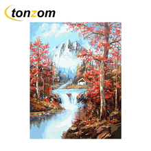 RIHE Clear Stream With Tree Diy Painting By Numbers Snown Mountain Oil On Canvas Cuadros Decoracion Acrylic Wall