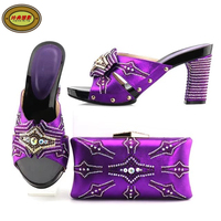 YH15 Purple Top Quality Elegant Women S Shoes And Bag Set For Party Hottest Rhinestone European
