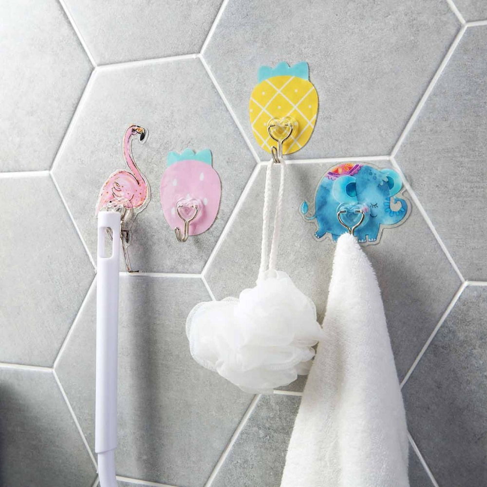 Carton Wall Mounted Key Holder Elephant Flamingo Strawberry Pineapple Adhesive Hooks For Door Towel Household Items Hanger